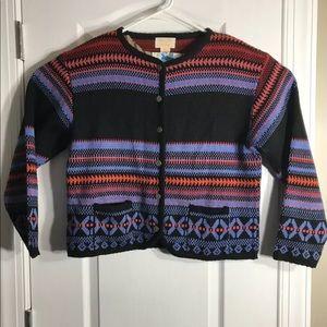 Vintage Tally Ho Pattern Button Sweater Medium